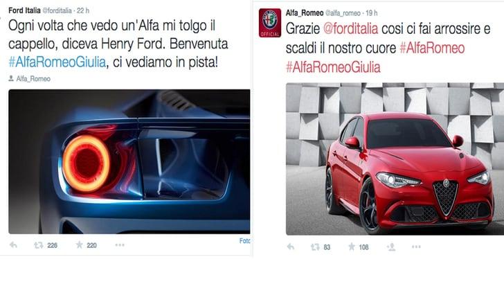 Giulia, galanteria da Ford e Alfa… arrossisce