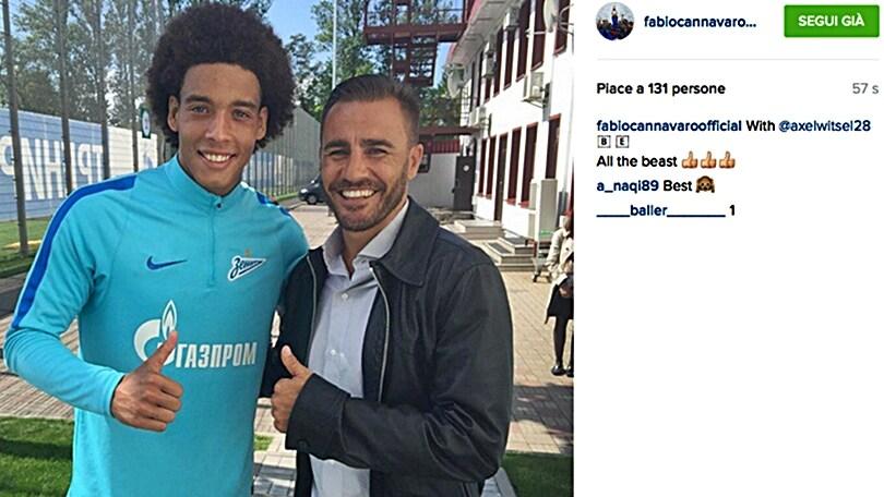 Milan, guarda Cannavaro: foto ricordo con Witsel!