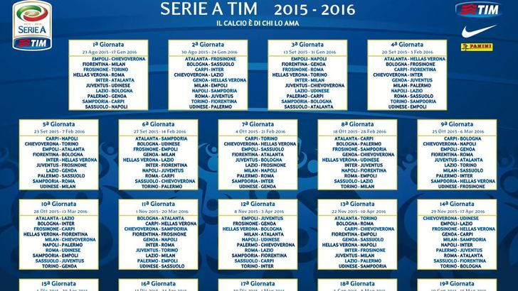 Calendario 18 Giornata Serie A.Scarica Il Calendario Di Serie A 2015 16 Tuttosport