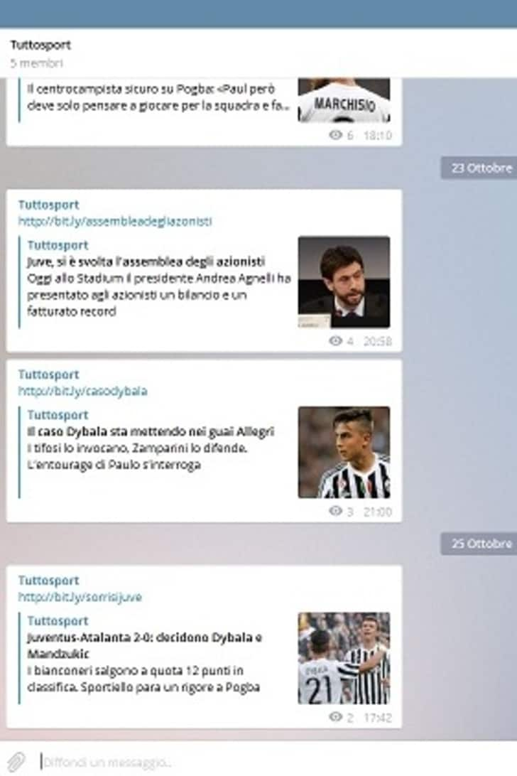 Tuttosport.com sbarca su Telegram