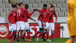 Europa League, Bruges-Napoli 0-1 segna Chiriches nello stadio vuoto
