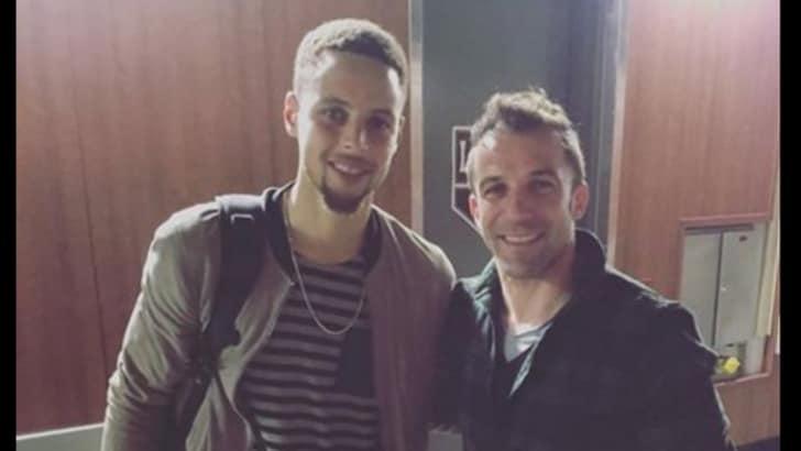 Juventus: Del Piero, dopo Kobe Bryant, foto con Steph Curry