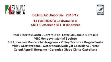 Il calendario di Serie A2 Unipolsai 2016/17