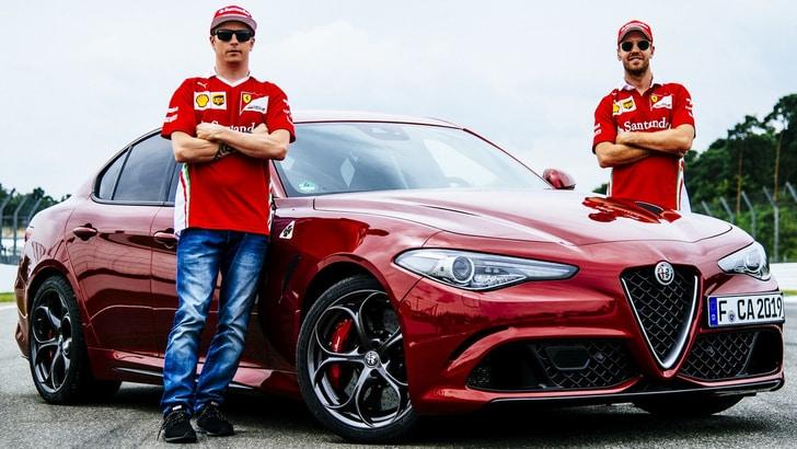 I piloti Ferrari con le Giulia Quadrifoglio al GP di Germania