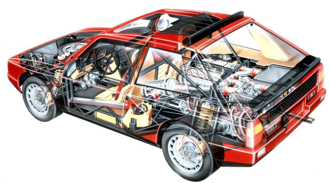 <p>Solo 200 esemplari prodotti per rispettare il regolamento del Mondiale Rally 1985: ognuno equipaggiato con motore&nbsp;&nbsp;4 cilindri 16V di 1.759 cc con compressore Volumex e turbocompressore KKK da quasi 300 cavalli per scattare da 0 a 100 in meno di 6 secondi. Un esemplare andr&agrave; all&#39;asta all&#39;edizione 2016 del concorso d&#39;eleganza di Pebble Beach e la quotazione &egrave; stimata in mezzo milione di dollari.&nbsp;</p>