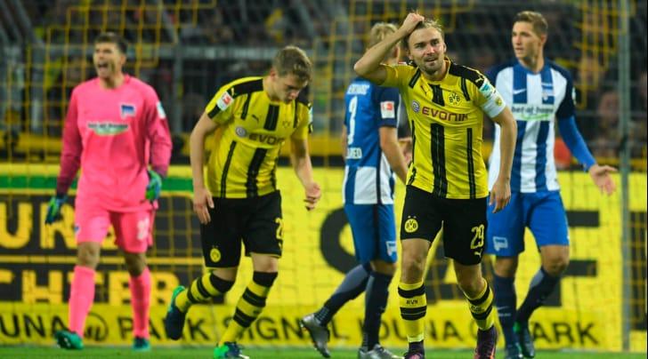 Bundesliga: Borussia Dortmund-Hertha Berlino 1-1, Aubameyang salva i gialloneri