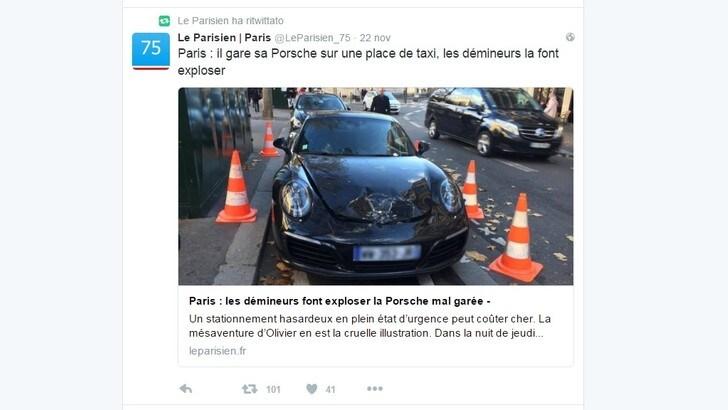 Parigi, la Porsche in doppia fila viene fatta brillare dalla polizia