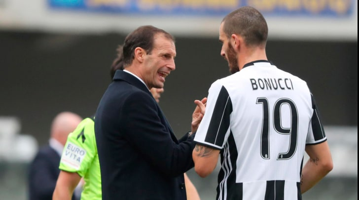 Juventus, battibecco Bonucci-Allegri: multa in arrivo per il difensore