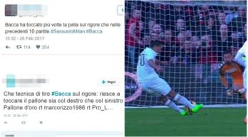 Sassuolo-Milan, il rigore di Bacca: ironia e polemica sul web
