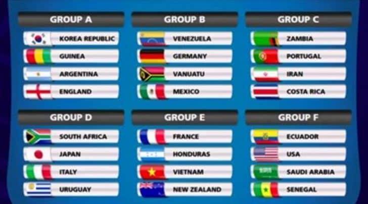 mondiale 20 sorteggio gironi l italia sfida