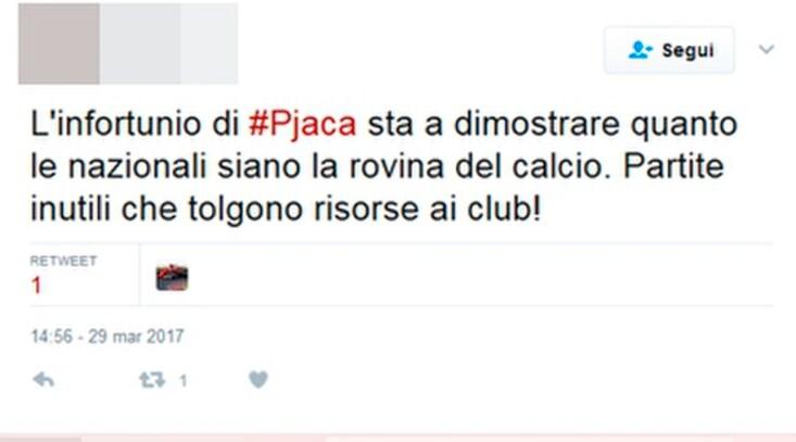 Infortunio Pjaca, sui social scoppia la rabbia dei tifosi della Juventus