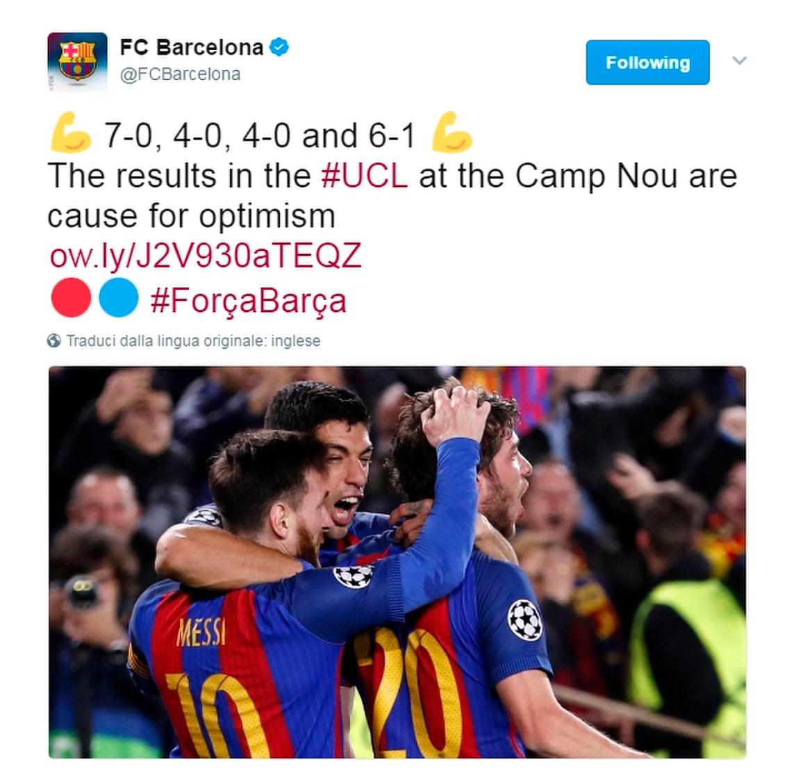 É guerra social: Barcellona, un tweet per avvisare la Juventus