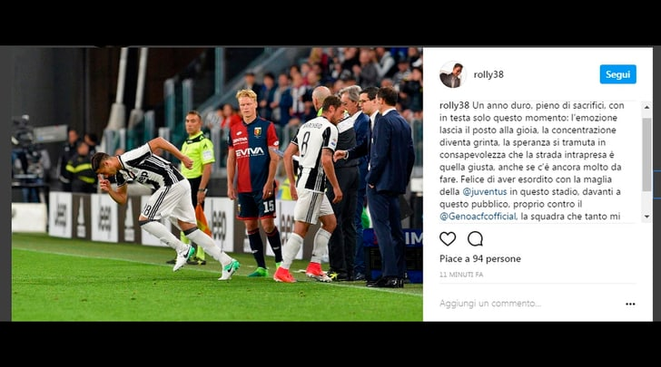Mandragora esordisce con la Juventus: tutta la gioia su Instagram