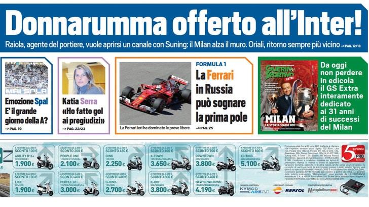 Tuttosport in edicola: Milan, Donnarumma offerto all'Inter!