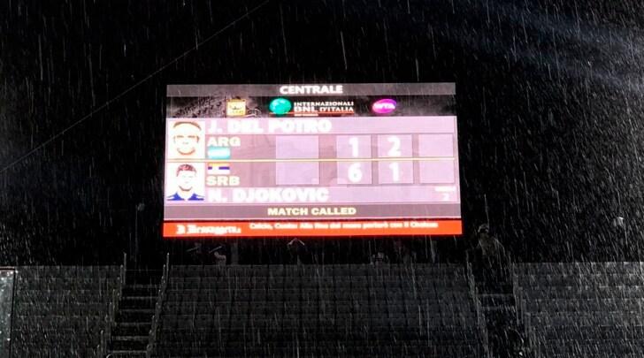 Tennis, Internazionali d'Italia: rinviato il match tra Djokovic-Del Potro