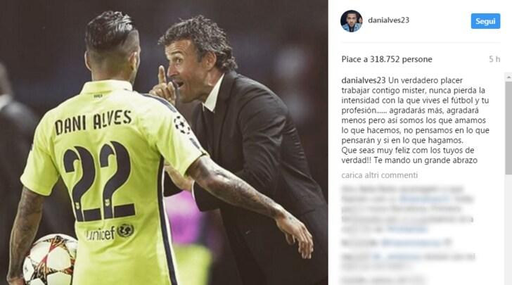 Dani Alves a Luis Enrique: «Un piacere lavorare con te»