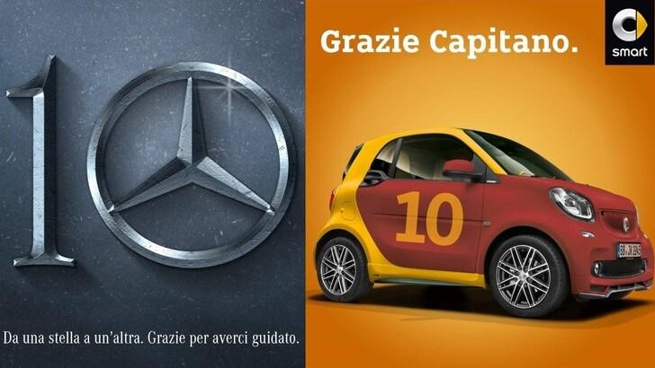 Mercedes e Smart ringraziano Totti