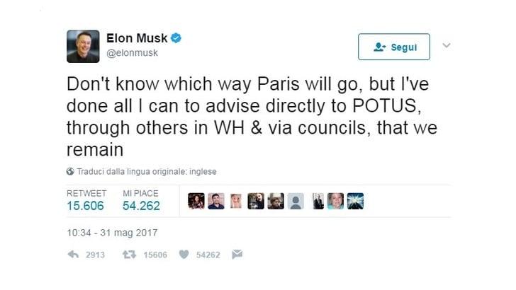 Elon Musk è pronto a scaricare Trump per gli accordi sul clima