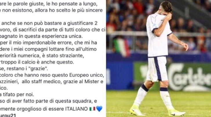 Under 21, Gagliardini si pente per il rosso: «Chiedo scusa a tutti»