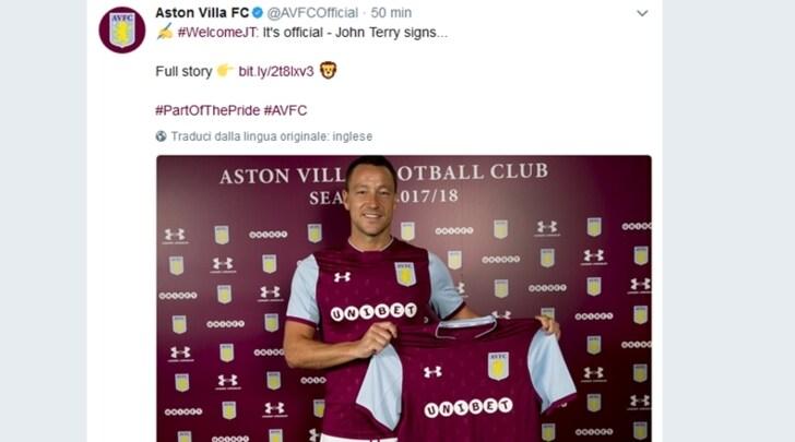 Mercato, Terry firma con l'Aston Villa: è ufficiale