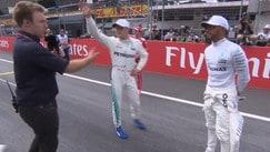 Hamilton non stringe la mano a Vettel