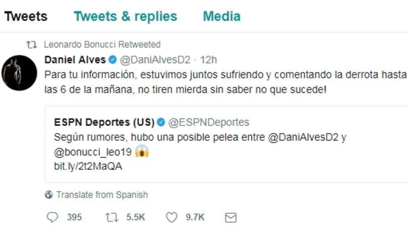 Fake news Mandzukic, Dani Alves e Bonucci smentiscono