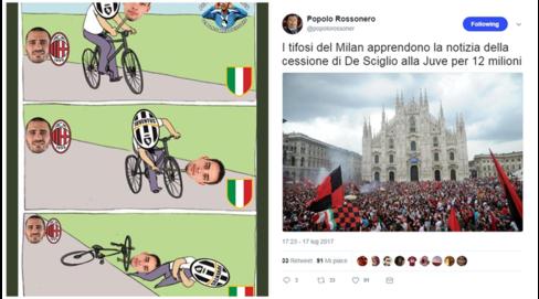 Juventus-De Sciglio: tifosi del Milan contenti, divisi quelli bianconeri