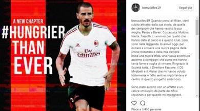 Bonucci su Instagram: «Attratto dalla storia del Milan»