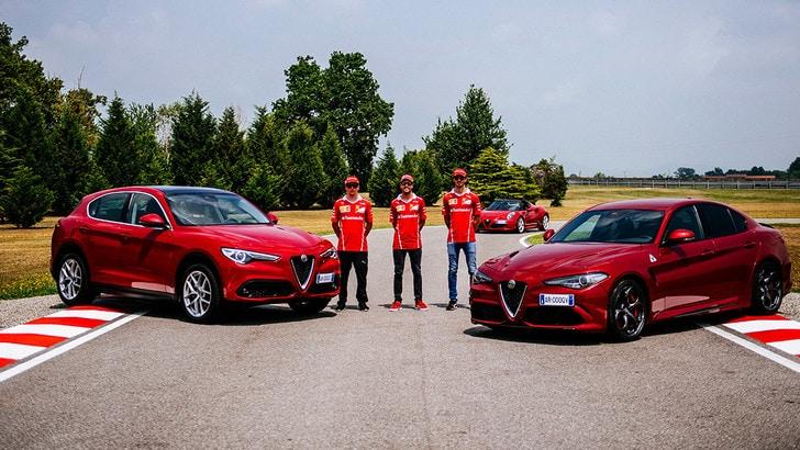 Vettel e Raikkonen show con la Giulia Quadrifoglio