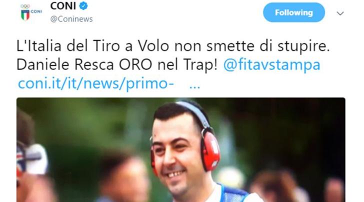 Tiro a volo, ai Mondiali di Mosca altro oro per l'Italia: Resca vince nel trap