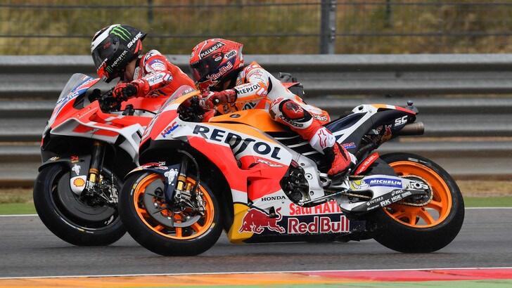 MotoGp Aragon: Marquez primo nel warm up, Rossi nono