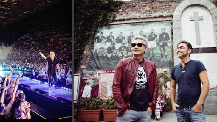 Ligabue: «Grazie Torino». E si emoziona a Superga