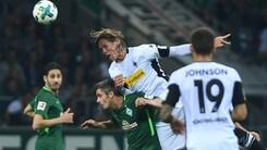 Bundesliga, il Moenchengladbach supera il Werder Brema. Pari tra Bayer e Wolfsburg