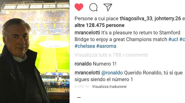 Ancelotti vede Chelsea-Roma. Ronaldo lo incensa, Matthaus lo attacca e i tifosi della Juventus...