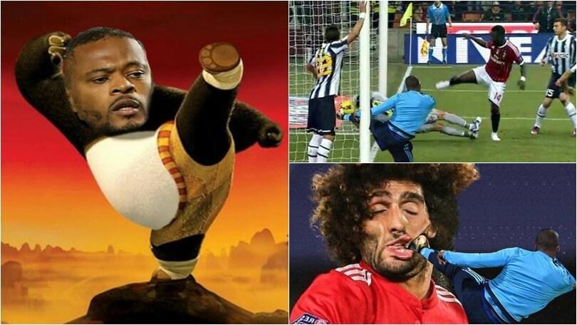 Il calcio di Evra alla Cantona fa il giro del web: i social non perdonano