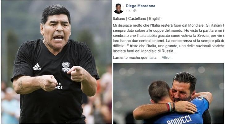 Le lacrime azzurre di Maradona:«Triste perl'Italia»