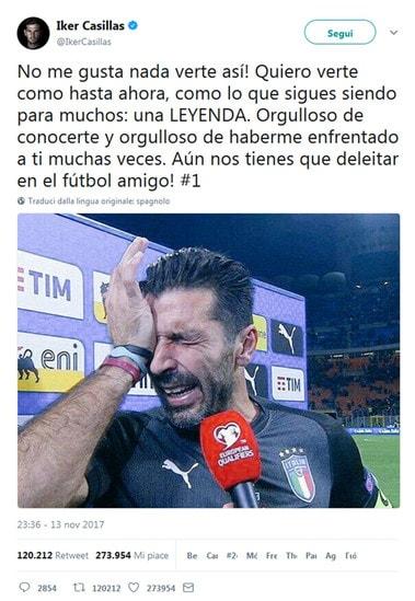Da Dybala a Casillas, passando per Sergio Ramos e Ribery: ecco tutti i messaggi di stima per il capitano della Nazionale che ha dovuto rinunciare al sogno del sesto mondiale dopo il ko ai playoff contro la Svezia