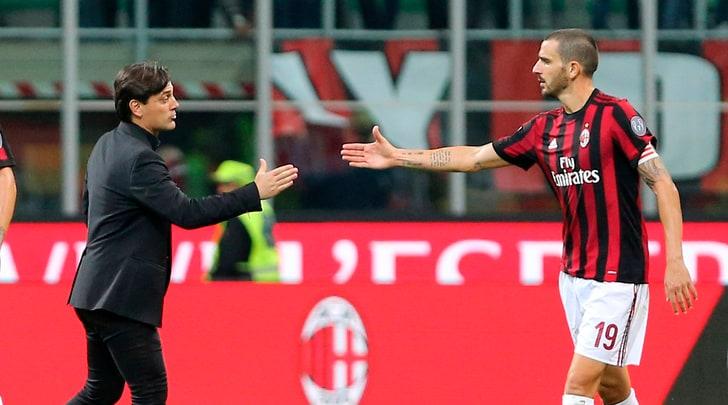 Milan, Montella: «Bonucci? Se sbaglia e vinci 5-1 è cambiato il vento»