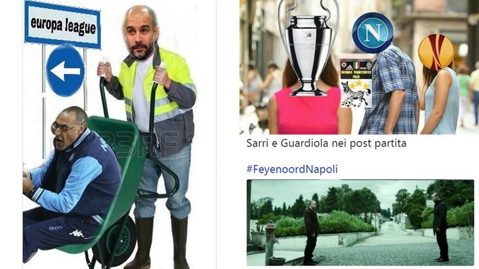 La squadra di Sarri perde 2-1 con il Feyenoord e il Manchester City di Guardiola va ko 1-2 con lo Shakhtar: azzurri in Europa League e web scatenato
