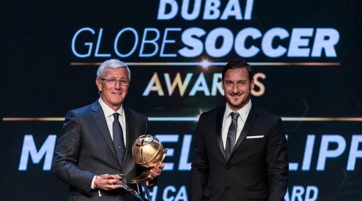 Globe Soccer Awards, premiati Lippi e e Totti. E Del Piero intervista Ronaldo