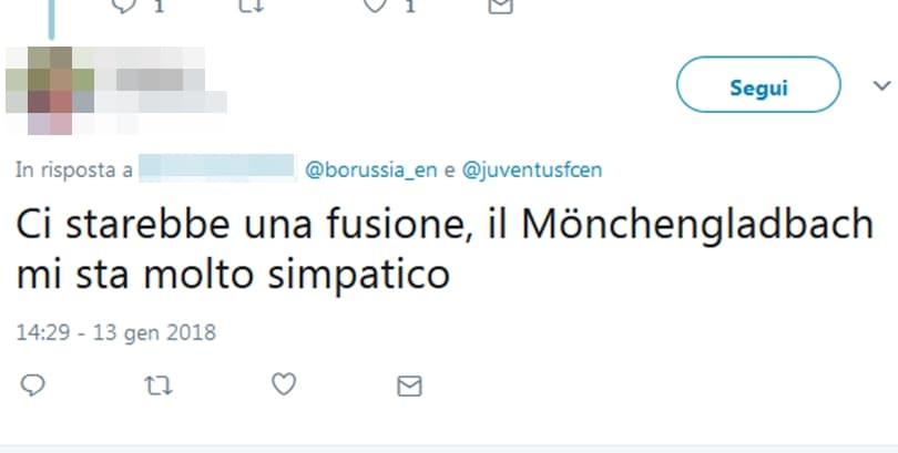 Il club tedesco, sul proprio profilo Twitter, ha rilanciato uno stemma che raffigura i colori di entrambe le squadre. L'ironia degli utenti: «Una fusione non sarebbe male»