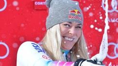 Lindsey Vonn sorrisi sul podio con Sofia Goggia