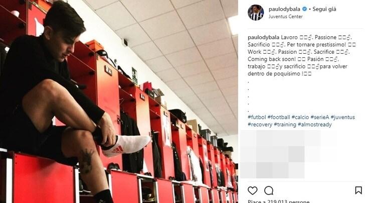 Juventus, Dybala: «Lavoro, passione e sacrificio per tornare prestissimo»