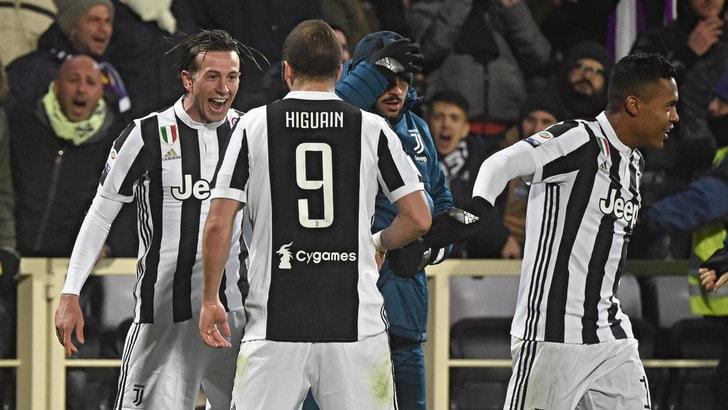 La Juventus ha più Fede: Bernardeschi segna ed esulta, 2-0 di Higuain. Fiorentina ko, +2 sul Napoli