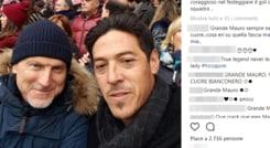 Torino-Juventus, Camoranesi allo stadio tra i tifosi granata