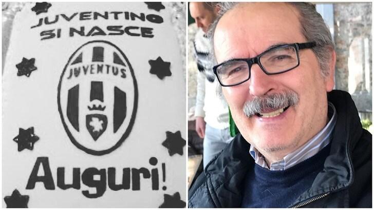 Lamberto Sposini festeggia i 66 anni con una torta della Juventus