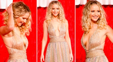 Jennifer Lawrence e la sexy scollatura che incanta in passerella
