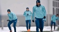 Juventus, allenamento sotto la neve