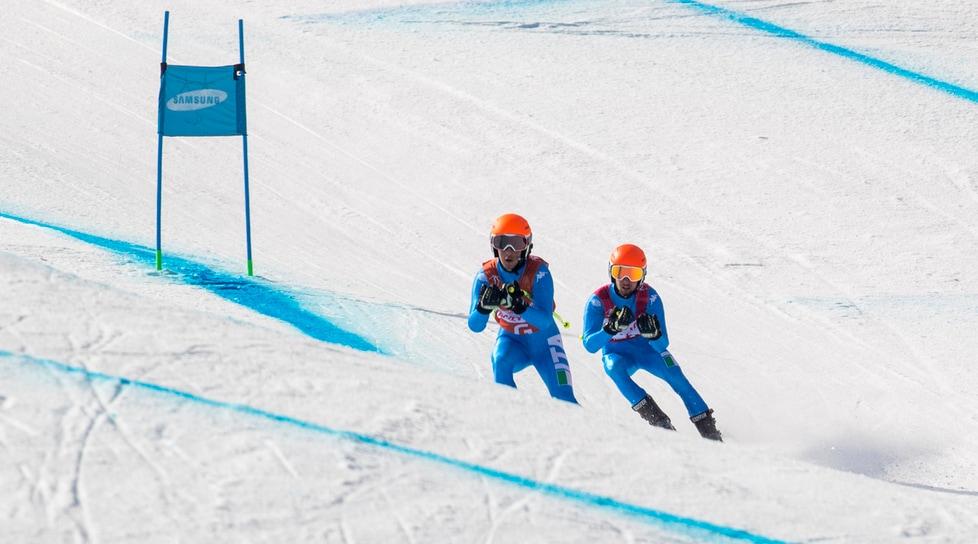 L'ipovedente azzurro e la sua guida Fabrizio Casal si sono piazzati al terzo posto tra i Visually Impaired nella discesa libera e prima gara sulle nevi di Jeongseon