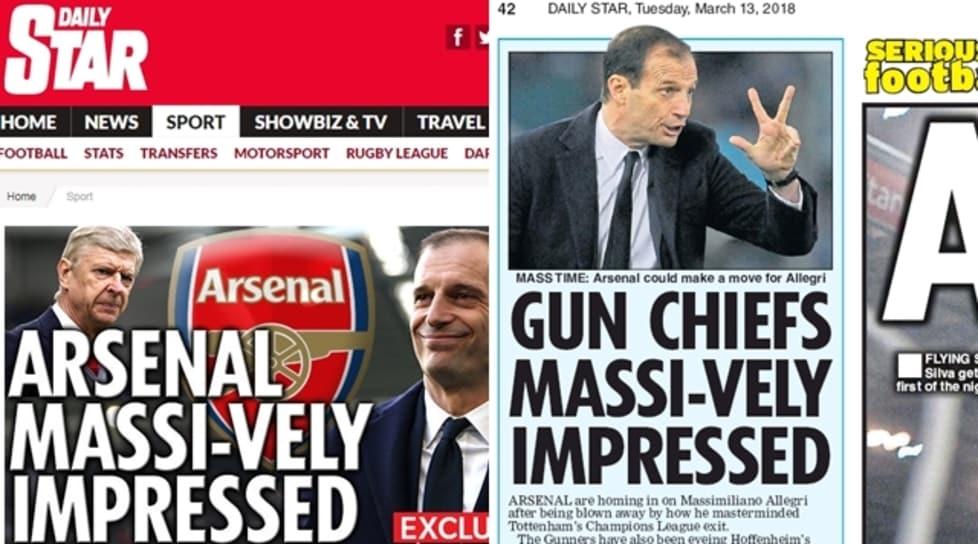 """Sul Daily Star si amplificano i rumors attorno al futuro della panchina dei Gunners per la quale sarebbe favorito """"Massi-Vely"""" (in italiano """"massicciamente"""") Allegri."""